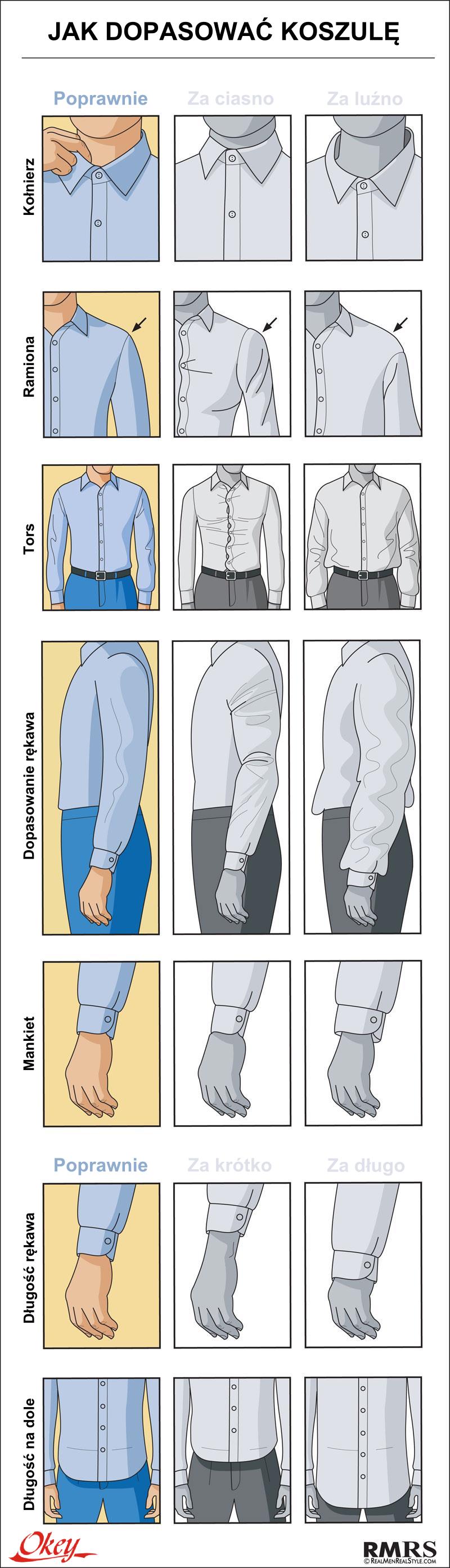 jak dopasować koszule długosć, szerokość